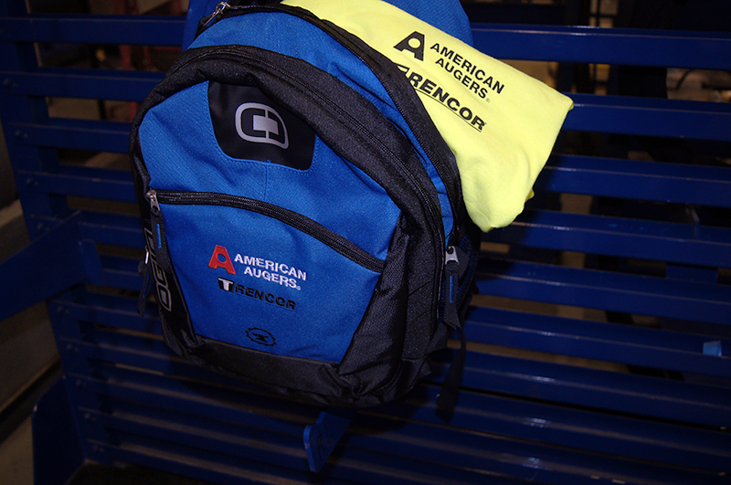 Hi-Viz t-shirts and 1 American Augers and Trencor backpack